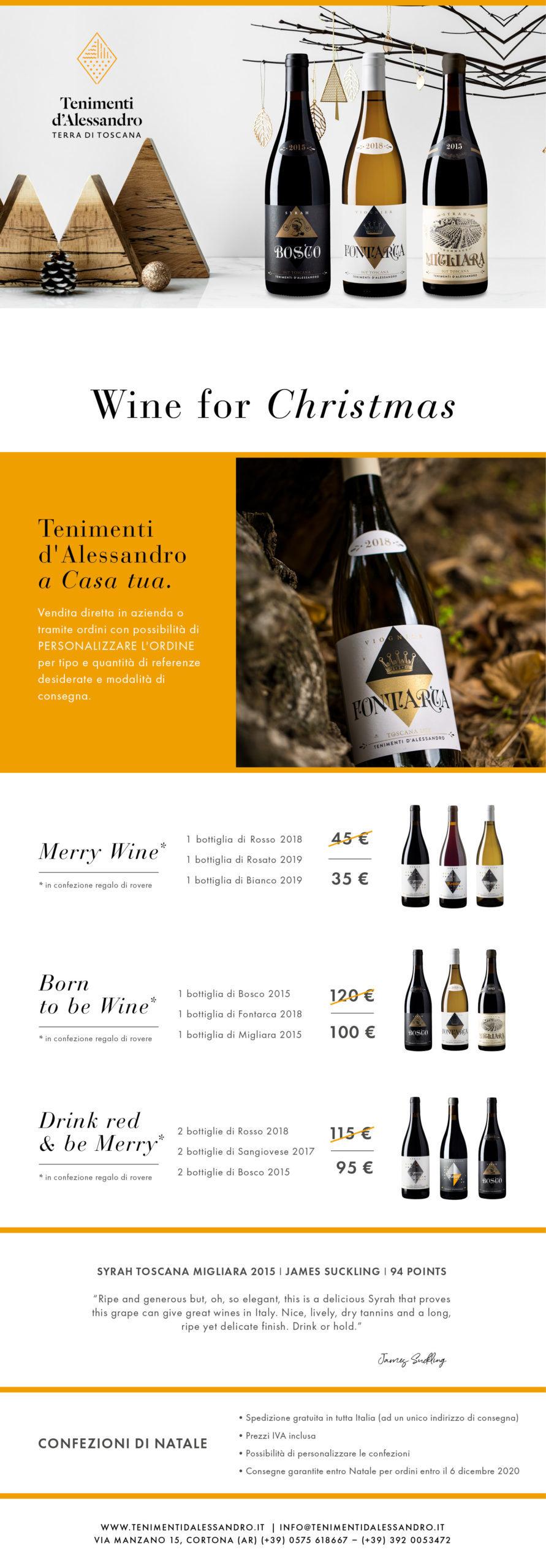 l'offerta dei regali natalizi della tenuta vitivinicola Tenimenti d'Alessandro